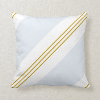 Mustard Gold and Light Blue Stripe Pattern Square Throw Pillow