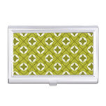 Mustard Green And White Geometric Pattern Business Card Case