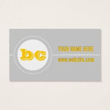 Professional Business Mustard & Grey Zig Zag Polka Dot Business Cards