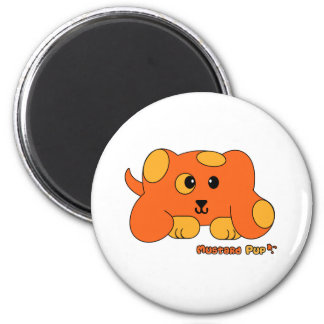 Mustard Pup Pudgie Pet 2 Inch Round Magnet