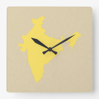 Mustard Spice Moods India Square Wall Clock