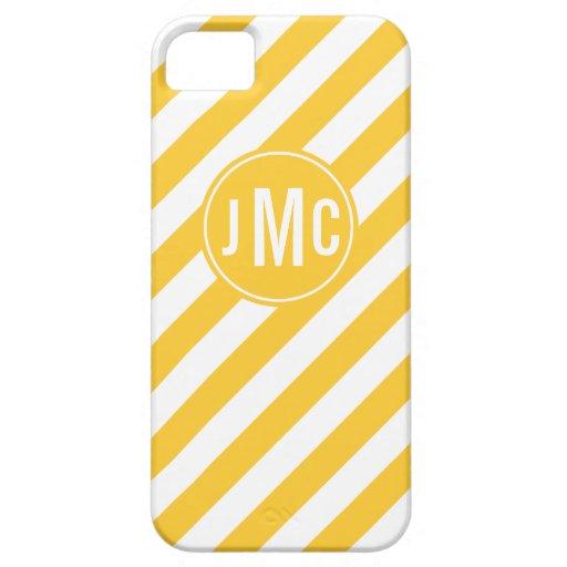 Mustard Stripes with Custom Monogram iPhone 5 Cover