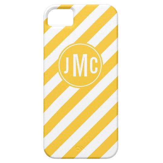 Mustard Stripes with Custom Monogram iPhone SE/5/5s Case