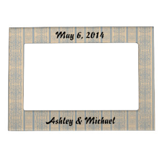 mustard teal vintage striped damask pattern magnetic picture frame