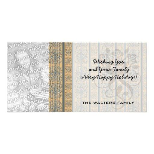 mustard teal vintage striped damask pattern photo card