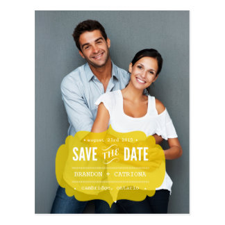 Mustard Transparent Label | Save the Date Postcard