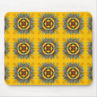Mustard Victorian Tile Design Mouse Pad