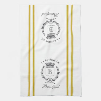 Mustard Vintage Style French Sack with Custom Name Hand Towels