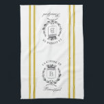 """Mustard Vintage Style French Sack with Custom Name Kitchen Towel<br><div class=""""desc"""">Vintage French etched graphics and mustard yellow ticking tape stripes are the perfect addition to your French country kitchen decor on this waffle knit custom towel. Don&#39;t forget the finishing touch of personalization with your monogram and family name.</div>"""