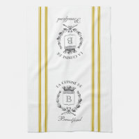 Mustard Vintage Style French Sack with Custom Name Kitchen Towel