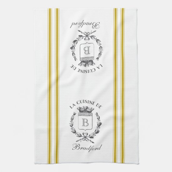 Mustard Vintage Style French Sack with Custom Name Towel