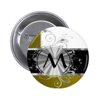 Mustard white and silver monogram button