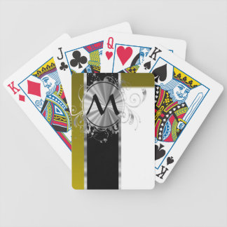 Mustard white and silver monogram bicycle card deck