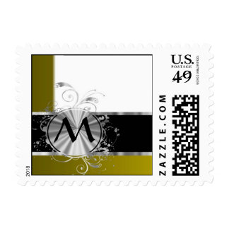 Mustard white and silver monogram postage