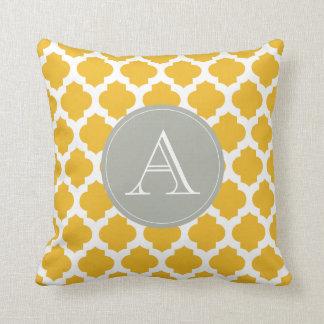Mustard & White Moroccan Pattern Gray Monogram Throw Pillow