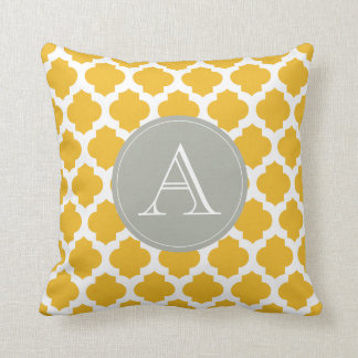 Mustard & White Moroccan Pattern Gray Monogram Throw Pillow