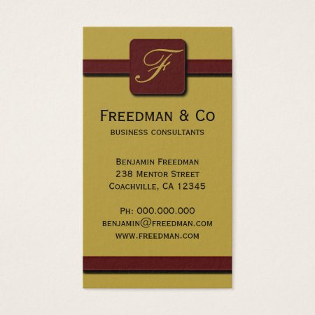Burgundy and Mustard Monogram Professional Business Card Template
