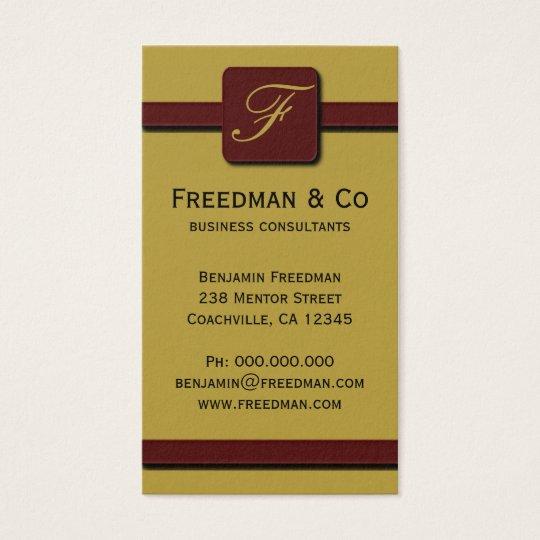 Mustard Yellow and Dark Red Monogram Professional Business Card