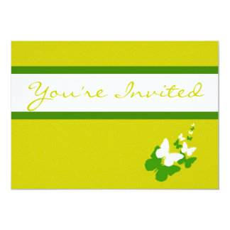Mustard Yellow and Green Butterfly Invitations