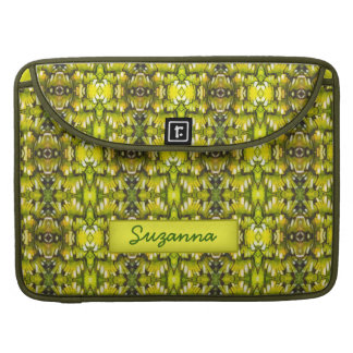 Mustard Yellow And Green Retro Wallpaper Pattern Sleeve For MacBooks