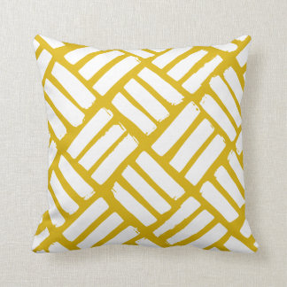 Mustard Yellow and White Ink Strokes Grid Throw Pillow