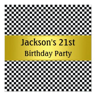 Mustard Yellow Black & White Check  Party Card