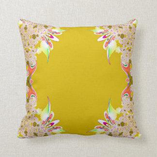 Mustard Yellow Cream Abstract Feathery Pillow