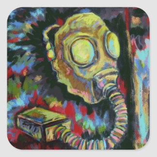 Mustard Yellow, Gas Mask Art Products Square Sticker