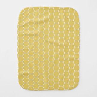 Mustard Yellow Geometric Honeycomb Hexagon Pattern Burp Cloth