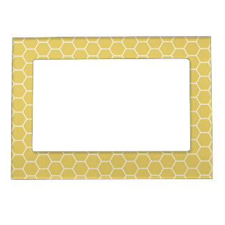 Mustard Yellow Geometric Honeycomb Hexagon Pattern Magnetic Frame
