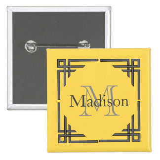 Mustard Yellow Gray Geometric Border Monogram Name Button