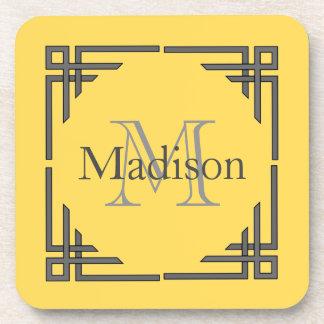 Mustard Yellow Gray Geometric Border Monogram Name Coaster