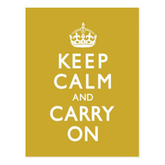 Mustard Yellow Keep Calm and Carry On Postcards