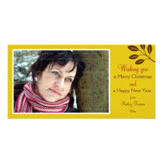 Mustard Yellow Lattice Leaves Branch Christmas Photo Card