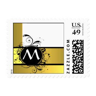 Mustard yellow monogram design postage