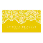Mustard Yellow Moroccan Lace Pattern Business Card