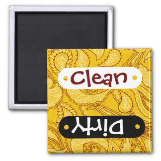 Mustard Yellow Paisley Print Summer Fun Girly 2 Inch Square Magnet