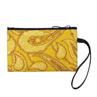 Mustard Yellow Paisley Print Summer Fun Girly Coin Wallet