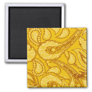 Mustard Yellow Paisley Print Summer Fun Girly Magnets