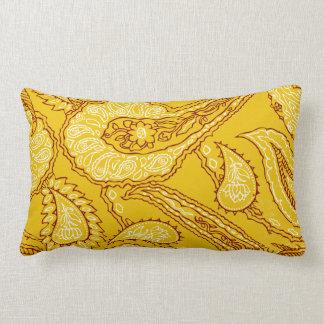 Mustard Yellow Paisley Print Summer Fun Girly Throw Pillows