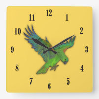 Mustard Yellow Parrot with Black Numbers Square Wall Clock