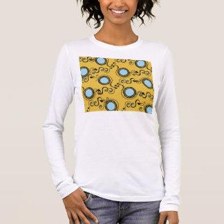 Mustard yellow polka dot pattern long sleeve T-Shirt