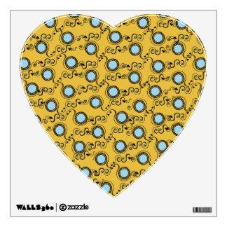 Mustard yellow polka dot pattern wall sticker