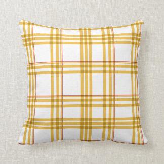 Mustard Yellow, & Red Tartan Pattern Pillow