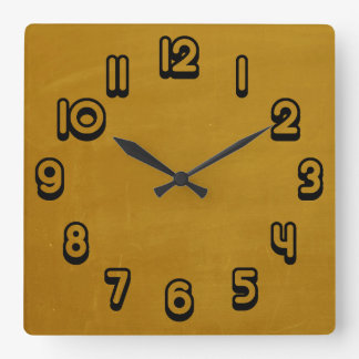 Mustard Yellow Retro Grunge Scratched Texture Square Wall Clock