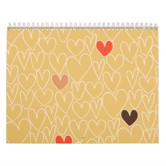 Mustard Yellow Scribble Heart Pattern Wall Calendars