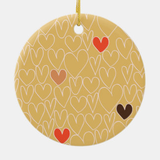 Mustard Yellow Scribble Heart Pattern Double-Sided Ceramic Round Christmas Ornament