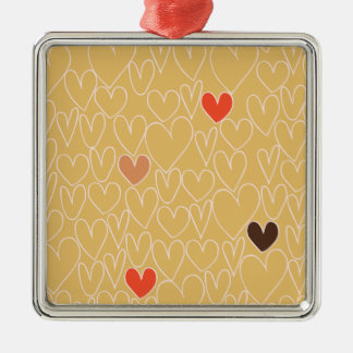 Mustard Yellow Scribble Heart Pattern Square Metal Christmas Ornament