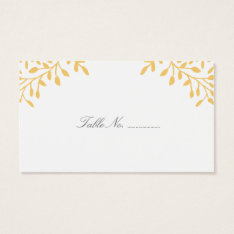 Mustard Yellow Secret Garden Wedding Place Cards at Zazzle