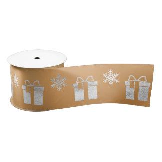 Mustard Yellow Silver Christmas Gift Snowflakes Satin Ribbon
